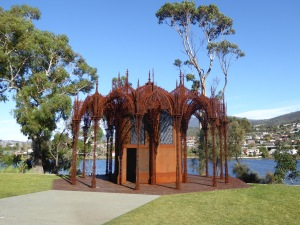 MONA: the chapel. The stain glass windows of skeletal sexual positions were interesting!